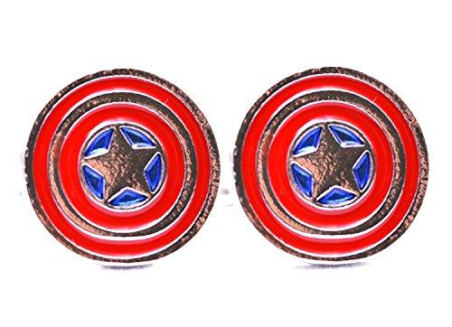 Blau samt Karton, Marvel Captain America Manschettenknöpfe Star Shield Avengers Super Hero Herren Jewelry Shirt Manschette Link Fashion Party Hochzeit Geschenk
