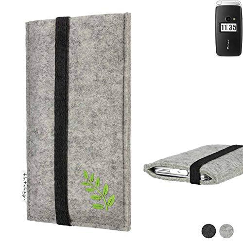 flat.design Handy Hülle Coimbra für Doro Primo 413 Made in Germany Handytasche Filz Tasche Case grün Blatt Blätter Natur
