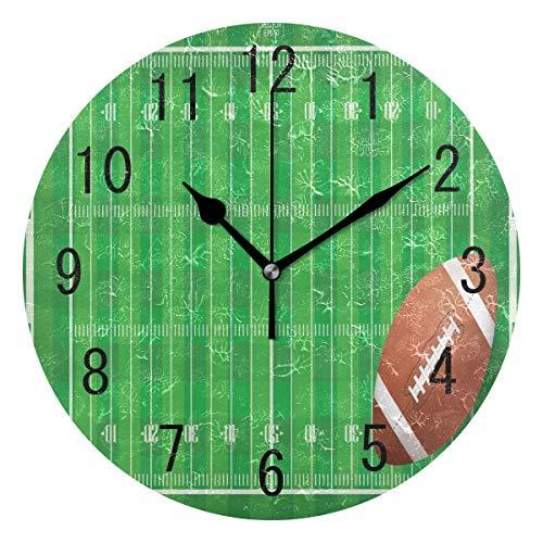 Use7 Home Decor Runde Acryl-Wanduhr, Motiv American Football Field, Nicht tickend, geräuschlose Uhr, Kunst für Wohnzimmer, Küche, Schlafzimmer