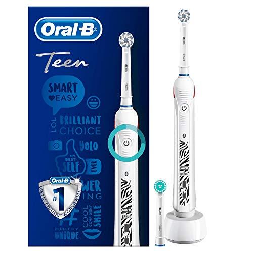 Oral-B Teen Elektrische Zahnbürste, für Teenager ab 12 Jahren, mit visueller Andruckkontrolle, weiß - 7000 Braun Oral-b