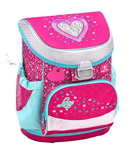 Belmil Ergonomischer Schulranzen Mädchen 1. Klasse mit Brustgurt - Super Leichte 765-820 g/Grundschule/Herz Heart/Pink, Rosa (405-33 Heart)