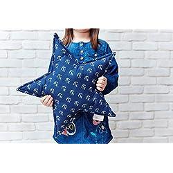 Fuerza Kids Decoración Estrella almohada blanca ancla en azul oscuro