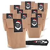 25marrone natalizi piccoli sacchetti di carta (16,5x 26x 6,6cm) + 25fascetta rosso nero bianco Natale Adesivo Santa Buon Natale (7x 21cm) Sacchetti regalo sacchetto di carta Give Aways clienti