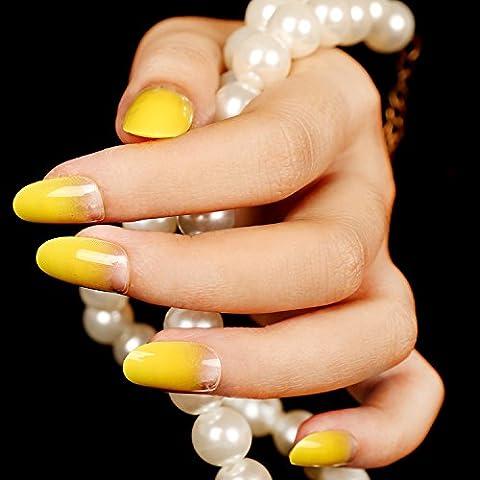 YUNAI 24 PCS Pre-Diseñado los clavos falsos Clavo falso Manicure francés Diseños bonitos de uñas Cobertura total amarillo Gradiente de Claro con pegamento
