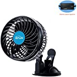 ZFLIN Car Fan Vehicle Fan Adjustment Suction Cup Car Auto Cooling Air Fan Powerful Quiet Stepless Speed Change Rotatable 12V Car Fans Summer Cooling Air Circulator ...