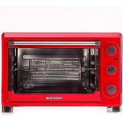 Oursson Mini-Four Electrique, 26 Litres, Thermostat Réglable jusqu'à 230°C, 4 Modes de Cuisson, 8 Accessoires, 1500 Watts, Rouge, MO2610/RD