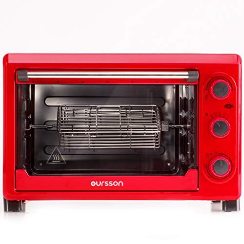 Oursson Mini Horno eléctrico, 26 Litros, 1500 Vatios, Hasta 230°C, Función de desconexión automática, Color rojo, MO2610/RD