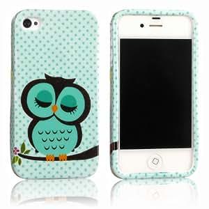 tinxi® Schutzhülle für Apple iPhone 4 / 4S Hülle TPU Silikon Rückschale Schutz Hülle Silicon Case mit Eule Owl Muster in Hellgrün