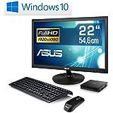 """Mini PC - lautlose CSL Narrow Box 4K 4GB / Win 10   inkl. 22"""" ASUS TFT - Silent-PC mit Intel QuadCore CPU 1920MHz, 32GB SSD, Intel HD, WLAN, USB 3.1, HDMI, Bluetooth, Windows 10, 22"""" ASUS TFT"""