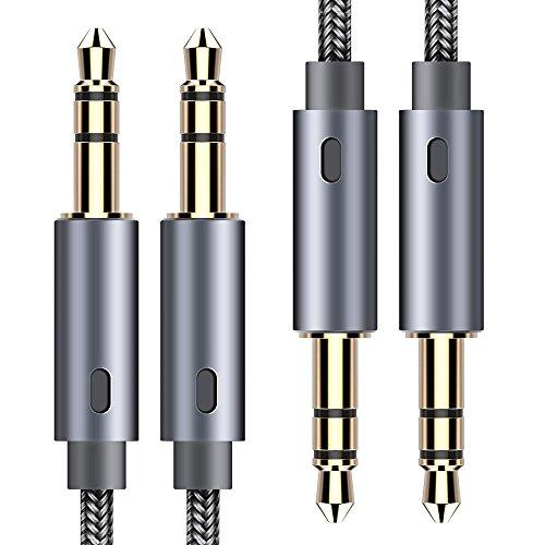 Cavo aux 3,5mm 1,2m [2-pezzi] cable jack audio in nylon con involucro in alluminio e connettore dorato per apple ipod iphone ipad,smartphone, autoradio,stereo per la casa,echo dot 2,mp3 ecc-grigio