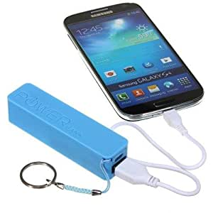 New Sky Blue 2600mAh Portable External Emergency Battery Charger Power Bank + Free 1 Noodle Style Flat Coloring USB Data Sync Cable For Micromax A47 Bolt / A61 Bolt / A67 Bolt / A57 Ninja 3.0 / A63 Canvas Fun
