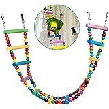 UEETEK Échelle colorée oiseau jouet, pont de l'arc-en-ciel en bois Flexible 12-escabeaux balançoires pour perroquets Trainning pour animaux de compagnie (couleur aléatoire)