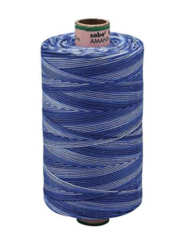 AMANN SABA® Multicolor-Garn mit Farbverlauf - 9985. blau/marine, Stärke 80, 1000 Meter Rolle | Nähgarn Polyestergarn (Marine-blau-rolle)