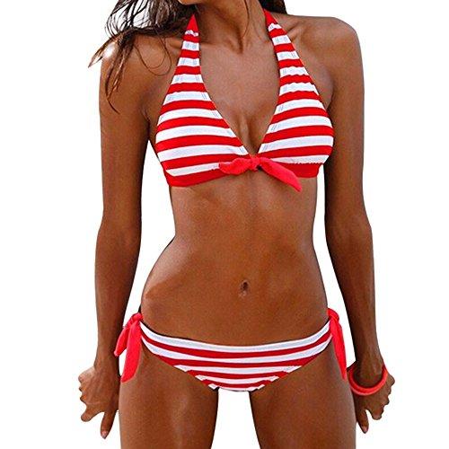Bikini Push-Up Neckholder Pink schwarz karo S M L Beach Wear Badeanzug