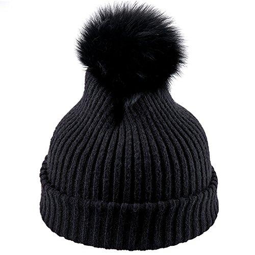 Limin Winter Stricken Faux Pom Pom Hut für Damen Beanies Ski Snowboard Hüte (Color : Black) Beanie Winter Ski Hut