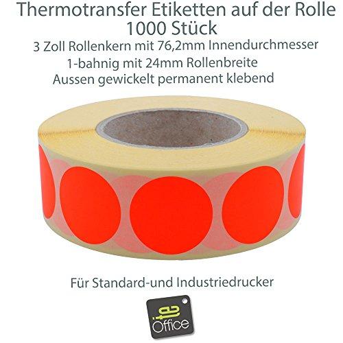 te-office 1000 pedazos Rollo 76mm Núcleo transferencia térmica markierungsetiketten Etiquetas Adhesivas 30mm redondo en 9 COLORES - 1000 ROJO