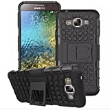 Defender Hard Armor Hybrid Rubber Bumper Flip Stand Rugged Back Case Cover for Samsung Galaxy E7 - Black