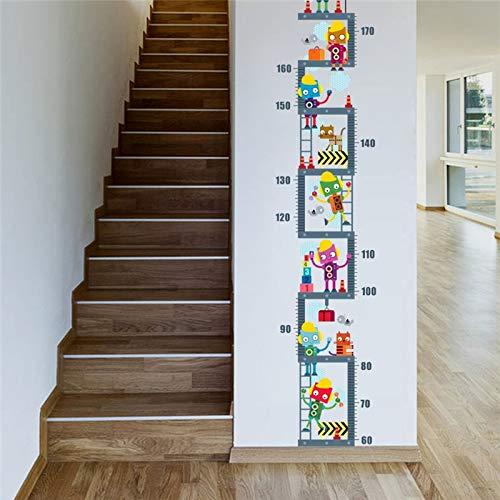 LETAMG Wandsticker Roboter Im Obergeschoss Höhe Maßnahme Wandaufkleber Für Kinder Kinderzimmer Dekor Wachstum Chart Wandtattoo Art Boy Room Decor (Moderne Wachstum Chart)