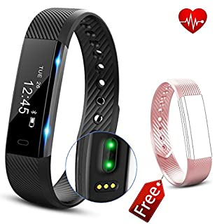 Fitness Tracker HR, AngelaKerry Fitness Tracker Watch with Heart Rate Monitor, Slim Touch Screen and Wristbands, Wearable Waterproof Activity Tracker Pedometer for Android and iOS - Black-Pink