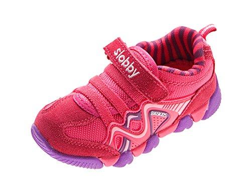 Kinder Halb Schuhe Wild Leder Jungen Mädchen Turnschuhe Fuchsia-Lila Klettverschluss Sneaker Gr. 27 (Fuchsia Schuhe Wildleder Kinder)