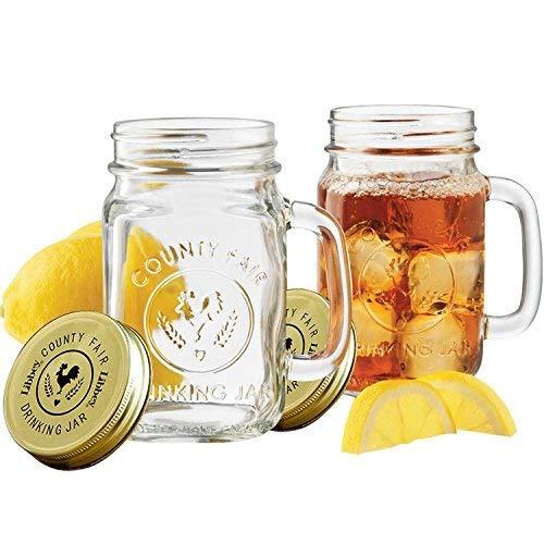 Mason Jar Trinkgläser 500ml, Jar Einmachgläser, Deckel mit Gummiring, Einmachglas, Fido Gläser, luft-und wasserdicht, 2-er Set - Mit Metall-krug Deckel