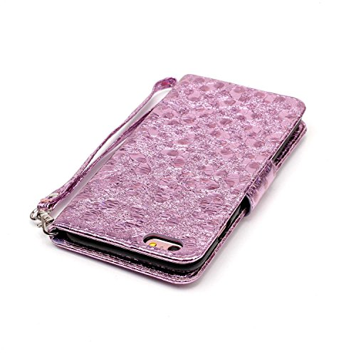 Custodia per iPhone 6 Plus/iPhone 6s Plus (5.5), EUWLY Alta Qualità Portafoglio Custodia in PU Pelle per [iPhone 6 Plus/iPhone 6s Plus (5.5)] Retro Bello Bling Glitter Farfalla Modello Design Custod Glitter Farfalla,Viola Chiaro