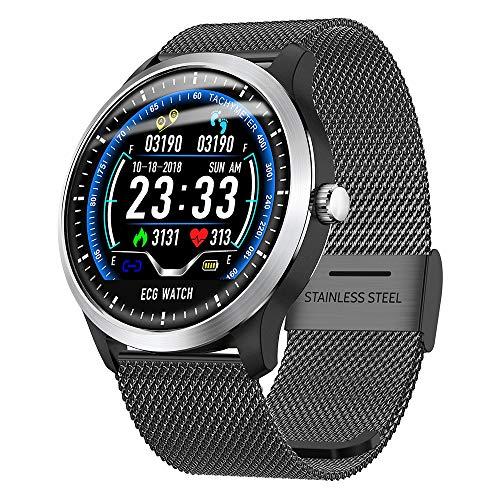 Fitness Tracker Smart Watch, Activity Tracker mit Pulsmesser, EKG-Sportuhr HRV-Bericht Blutdruck-Herzfrequenz-Test EKG + PPG-EKG-Smart-Armband,Black