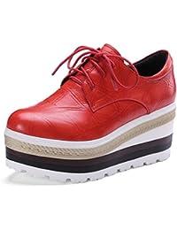 zapatos de encaje de alto desgaste ocasional alrededor de la cabeza del desván 2017 nuevos zapatos de cuero de piel de oveja de cabeza individuales , red , 5.5