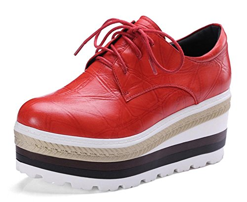 Chaussures Uniques 2017 Nouveau Cuir Mouton Tête Ronde Tête Loft Lace-up Chaussures Haute Vêtements Décontractés Rouge