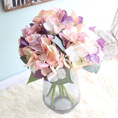 MDenker Kunstblumen & -Pflanzen,Künstlich Hortensie Blüten Seide Gefälschte Blume Blumenstrauß Arrangieren Familie Hochzeit Garten Blume Dekoration Hortensie