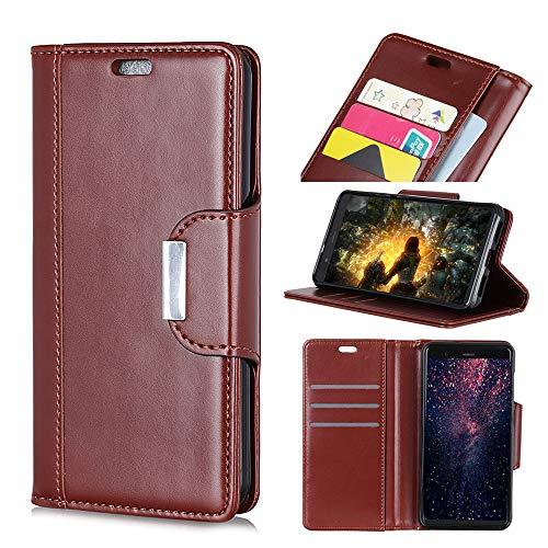 FindaGift Tasche für Xiaomi Redmi Note 7 Leder Hülle, Flip Lederhülle Schutzhülle Handyhülle [Kartenfächern][Magnetverschluss] Stand Ständer Etui Karten Slot Schutzhülle Wallet Case (Brown)