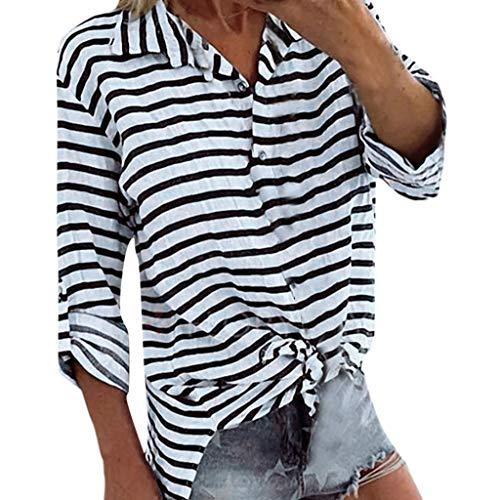 Yvelands Damen Blusen T-Shirt Sommer-Lange Hülsen-V-Ansatz gestreifte beiläufige lose Plus Größen-Hemden(Grau,XXL)