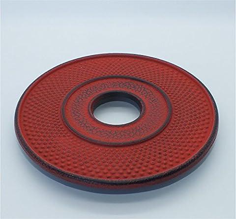 teeblume - Cast Iron Trivet, diameter 13.5cm, japanese-red, incl. shipping