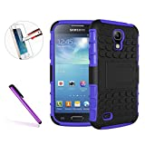 Samsung Galaxy S4 I9500 Case,Galaxy S4 Cover,NEWSTARS I9500 [Tyre Pattern Design] [Heavy Duty Tough Armor] [Extreme Protection] Case With Kickstand [Good Grip] Shock Absorbing Hybrid Best Impact Defender Rugged Cover Shell / Plastic Outer & Rubber Silicone Inner For Galaxy S4 I9500 + 1Pcs Touch Pen .Tyre Purple