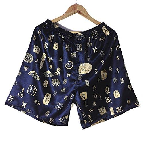 Wantschun Herren Satin Silk Unterwäsche Nachtwäsche Boxershorts Unterhosen Pyjama Bottom Shorts Pants Hose Schwarz XL (Schwarz Pyjama Bottoms,)