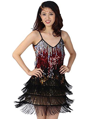 Astage Gatsby 1920er Latin Rhythms Salsa Cha Cha Sequin Fringe Dance Costumes Schwarz (Jive Tanz Kostüm)