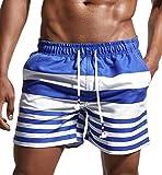 Lecoon Costume da Bagno Uomo Vita Bassa Regolabile Pantaloncini da Bagno Mare Nuoto Spiaggia Beachshorts Surfshorts per Uomini Blu