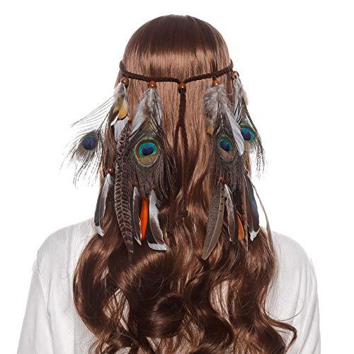 AWAYTR Damen Hippie Boho Indianer Stirnband Feder Stirnbänder für Abendkleider Halloween Karneval (Pfauenfedern und Fasanenfedern)