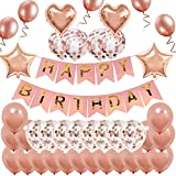 MMTX Anniversaire Ballon Rose Kit Guirlande Happy Birthday Ballon, 12 Ballons Confettis Rose Or, 22 Latex Ballon Rose Or, 4 Ballons Chiffre étoile et Coeur
