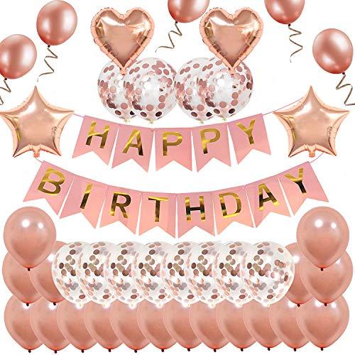 Decoración de cumpleaños en oro rosa, feliz cumpleaños Banner Decoración de cumpleaños para fiesta, cumpleaños Rose Deco con 22 globos de oro rosa y 12 globos de confeti de oro rosa y 4 globos de papel de aluminio con forma de estrella en forma de corazón para niña novia Hija
