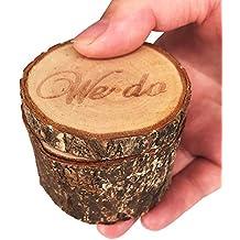 iNeith Caja de Anillo de Boda Porta Madera Rústico Decoración Personalizado We Do