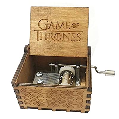 Antique Carved Game of Thrones Hand Cranking Wood Music Box for Home Decoration,Crafts,Toys,Gift