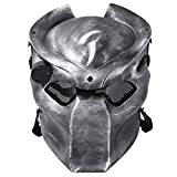 OUTGEEK Alien vs Predator AVP Wolf Maske Airsoft Maske Cs Wargame Feld Vollkopf Maske mit Infrarot Lampe (Silber Schwarz)