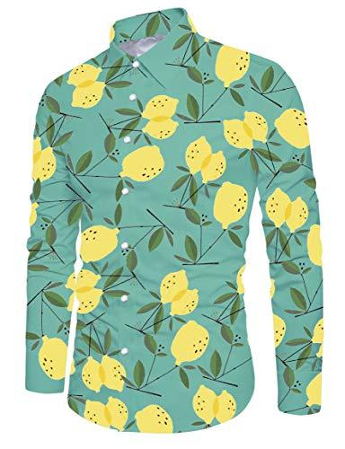 RAISEVERN Herren Hawaiihemd Sommer Casual Camisa Floral Bedruckt Langarm Strand Shirts Grün (Grün Floral Bedruckte)