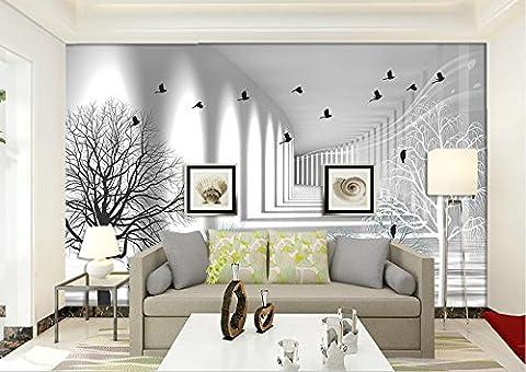 LWCX 3D Fototapete Benutzerdefinierte Stereoskopischen 3D-Wallpaper Nordic Abstrakten Baum Vogel Hintergrund Wall 3D Wandbild Tapeten 430X280CM