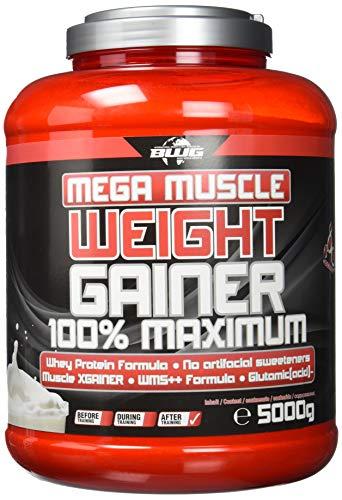 BWG Mega Muscle Weight Gainer 100{0f4a362aa2f20bec10de1887c8f4a5cc55d0eb1d9406d57484e519c05676046c} Maximum, Dose mit Dosierlöffel, 5000 g