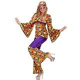NET TOYS Damen Flower Power Kostüm Hippikostüm Hippiekostüm Damenkostüm Hippie Fasching Karneval L 42/44