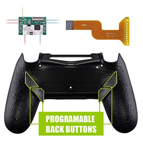 eXtremeRate Dawn Programmierbares Remap Kit für PS4 Controller mit Rückseite Hülle Gehäuse Case&Mod-Chip&4 Rückseiten Tasten-für Playstation 4 JDM 040/050/055(Schwarz) Montage-taste