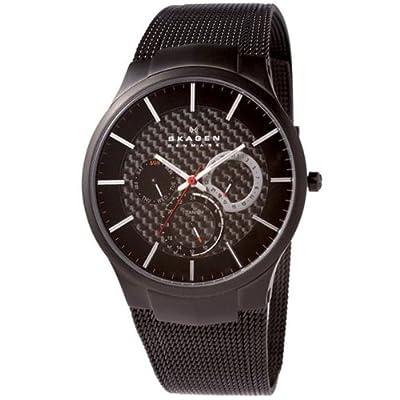 Reloj de caballero Skagen Slimeline Titan 809 XLTBB de cuarzo (japonés), correa de titanio color negro de SKAGEN