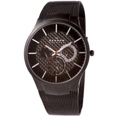 Skagen Slimeline Titan 809 XLTBB - Reloj de caballero de cuarzo (japonés), correa de titanio color negro